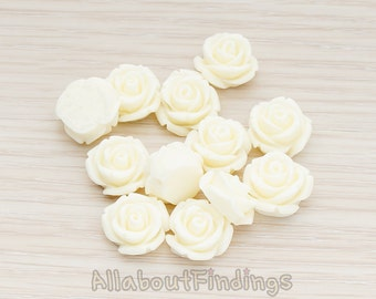 CBC141-01-CR // Cream Colored Curved Petal Rose Flower Flat Back Cabochon, 6 Pc