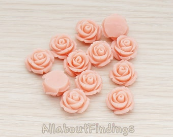 CBC141-01-PP // Pale Pink Colored Curved Petal Rose Flower Flat Back Cabochon, 6 Pc