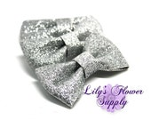 3 Inch Silver Sequin Bows - Wholesale Sequin Bows - New Style - Bow Knot Applique - Sequin bow headband  - Clip Sequin Bow