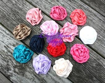 Lot of TWELVE - Wholesale - 3 inch - Satin Flower - Satin Rosette - Rosette -Fabric Flower - Rolled Rosettes - You  Pick Colors