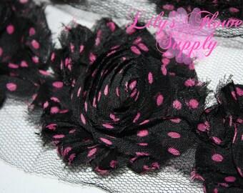 Shabby Rose Trim - Black Hot Pink POlka Dot - Shabby Flower Trim - Wholesale Trim - Chiffon Flower - Shabby Chic - Rose Trim - Shabby Trim
