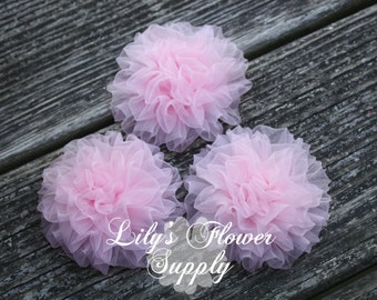 Light Petti Puff - Puff - THREE - Chiffon Flower - Organza flower - Ruched Flower - Embellishment - Headband Supply - Pink - Wholesale