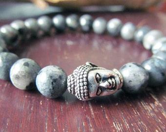 Blue Labradorite and Buddha Bracelet, Energy Bracelett, Wrist Mala, Yoga Bracelet, Yoga Jewelry, Meditation Bracelet, Buddhist, Reiki