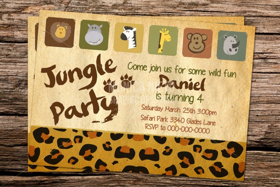 Printable jungle safari birthday invitation template zoo invitation il570xn stopboris Choice Image