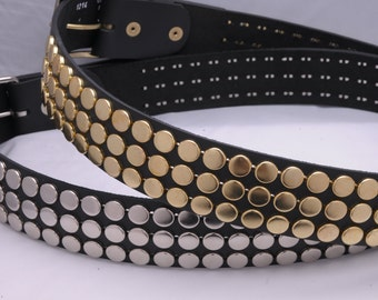"1-3/4"" (45mm) wide Genuine Leather Belt with 3 rows 1/2"" (13mm) NY/77 Flat head studs Silver/Chrome Gold/Golden Studded Spiked Made in USA"