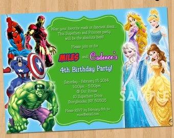 Double Party Invitation - Superheroes and Princesses - Printable Birthday Party Digital Invite - Boy Girl Twins Siblings Disney Superhero