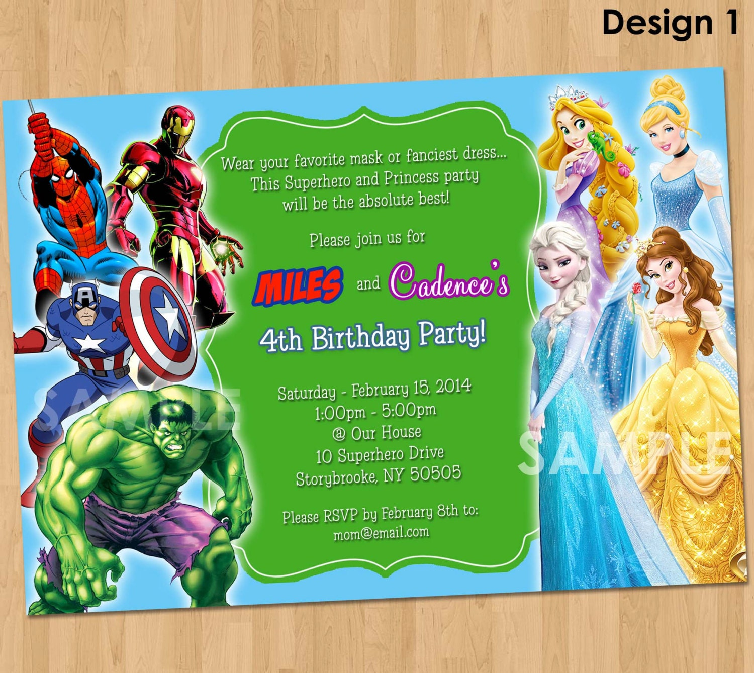 Double Party Invitation Superheroes and Princesses – Superheroes Party Invitations