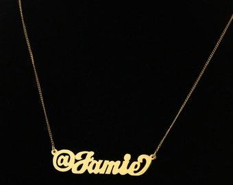 Custom Twitter, Instagram @ Name Necklace Sterling Silver, Yellow Gold, or Rose Gold
