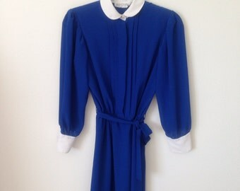 Vintage 70s 80s Royal Blue Secretary Librarian Chic Pintucked Pleated Long Sleeve Midi Dress 6