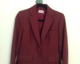 Vintage Nineties 1990s 90s Evan-Picone Oxblood Burgundy Maroon Wool Blazer Jacket XS-S 0-2