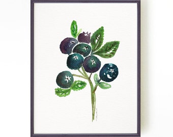 Blueberries watercolor painting, Kitchen art, Fruit print, Blueberry print, Kitchen wall art, Blue Fruit illustration Buy 2 Get 1 Free