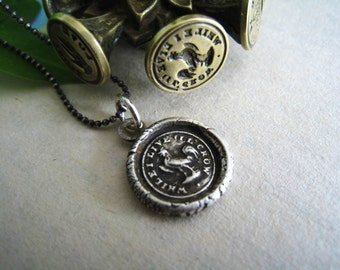 While I live I'll crow wax seal necklace