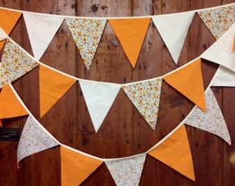 Rustic Calico & Warm Orange  Bunting Banner Flag to Flag Style 34ft 10mts 58 Flags  Natural Cotton Calico  Orange Shabby Chic and Plains