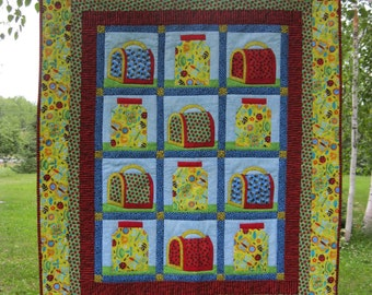 Fun With Bugs child's quilt, machine appliqued, machine quilted, bright, bug jars, red, yellow