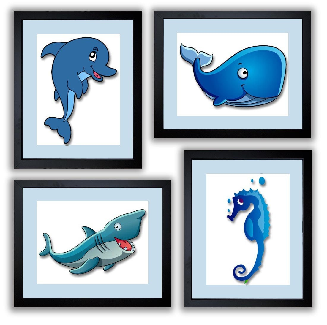 Blue Sea Animals Boys Art Nursery Art Nursery Print Dolphin Whale Shark Seahorse Set of 4 Child Art