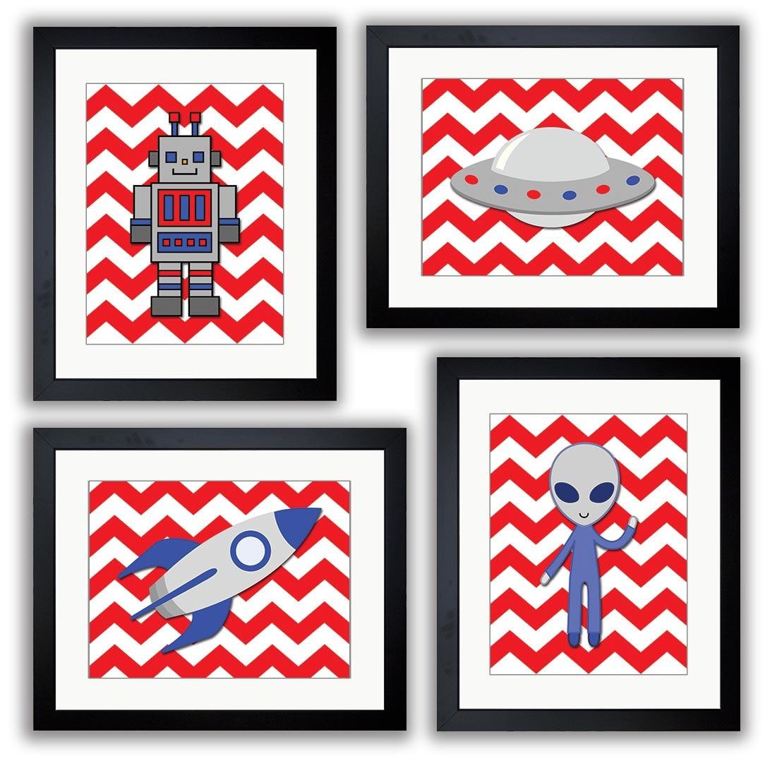 Red Space Art Child Art Prints Set of 4 Alien Spaceship Rocket and Robot Boy Kids Room Wall Art Deco