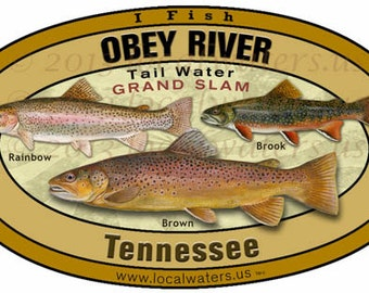 Obey River Grandslam Rainbow, Brook and Brown Trout Fishing Decal Sticker