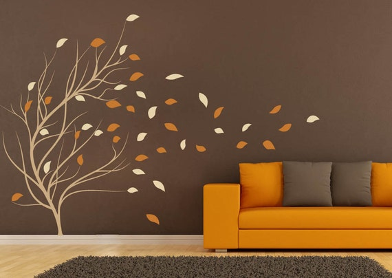 Wall stickers for bedrooms decal windy tree decals for walls for Stickers para dormitorios
