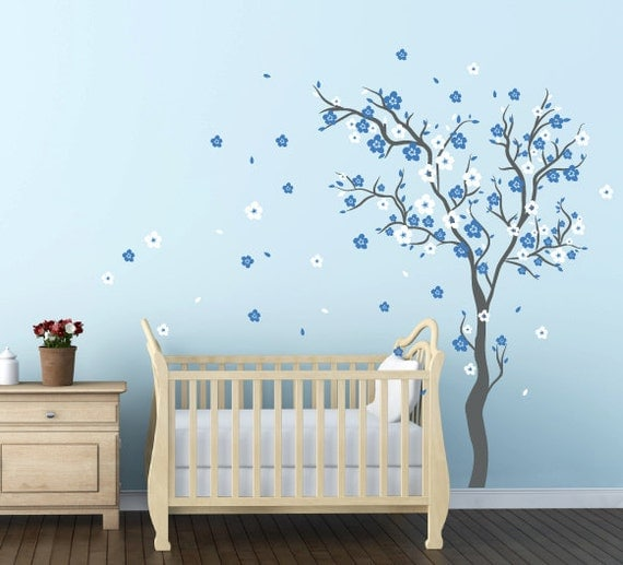 Baby boy nursery ideas cherry blossom wall decal wall sticker for Baby room decoration wall stickers