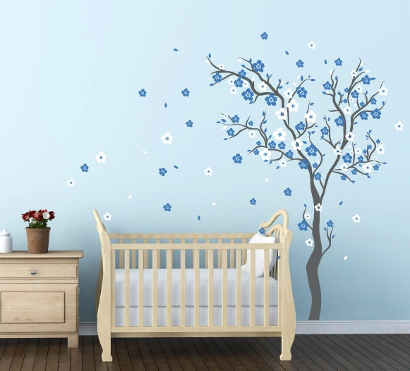 Baby boy nursery ideas cherry blossom wall decal wall sticker for Baby boy wall mural