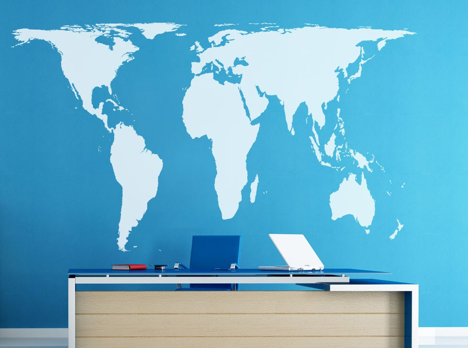 Peters Projection World Map Wall Decal Vinyl Art Wall Sticker - Wall decals map