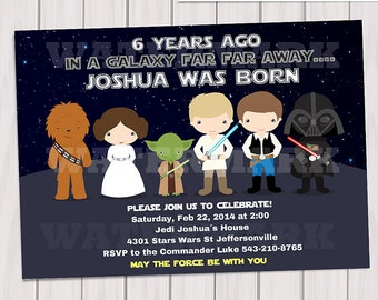 Galaxy wars Birthday Party Invitation / Digital printabe invitation / Star wars invitation / 5x7 birthday invitation