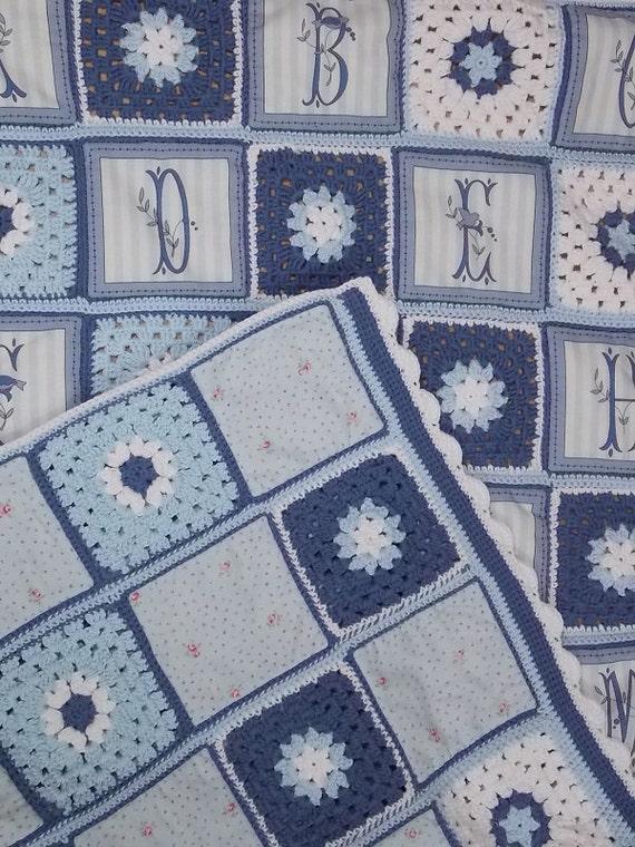 Patr n en espa ol de colcha de bebe realizada a ganchillo y - Patrones para colchas de patchwork ...