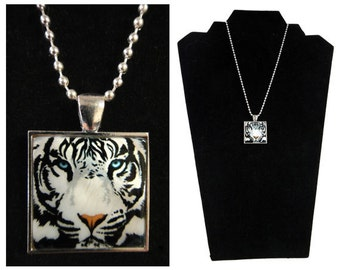 """White Tiger Pendant Necklace - White Tiger Jewelry, Mother of Pearl, White Tiger Gift, White Tiger Art, """"Harimau"""" - Wild at HeART Collection"""
