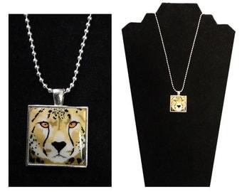 "Cheetah Pendant Necklace - Cheetah Jewelry, Mother of Pearl, Cheetah Gift, Cheetah Art,  ""Duma"" - Wild at HeART Collection"