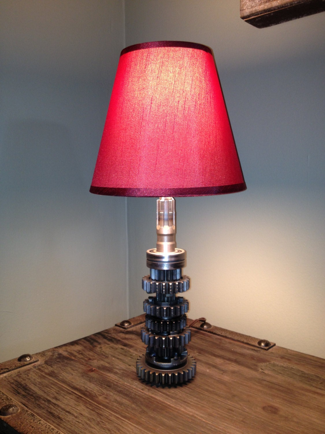 Hand crafted table lamp using repurposed engine car parts for Cars 2 table lamp