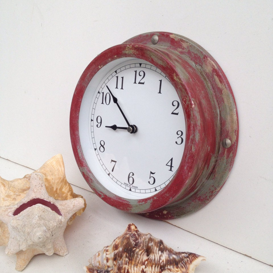 Rustic Vintage Red Wall Clock Red Metal Clock Timepiece Wall