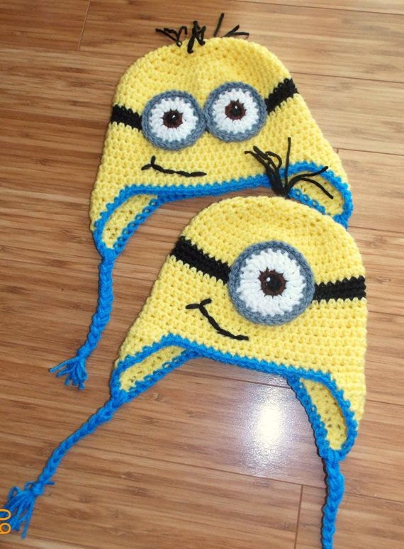 Items similar to ADORABLE Minion Hat With Ear Flaps!!! on Etsy