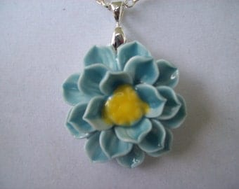 Hand Painted Flower Porcelain Pendant