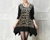 Fashion Women Leopard Handkerchief Hem Dress Long Sleeve Dress Scoop Neck Dress Plus Size Loose Fitting Clothing