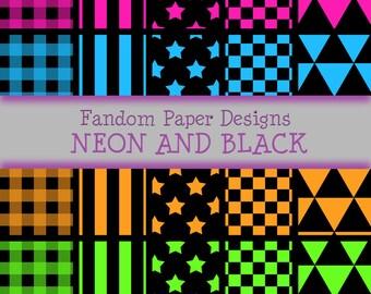 Neon and Black  - Digital Scrapbook Paper - Twenty Sheets