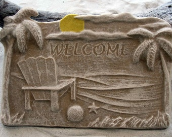 BEACH WELCOME SIGN Made Of  Sand