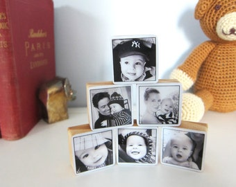 Set of 6 Pine Wood Baby Photo Blocks great new parent gift or nursery decor Personalized Christmas gift