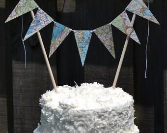 atlas flag garland cake topper