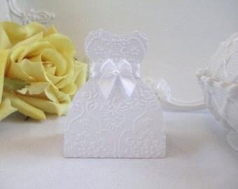10 White Wedding Dress Favor Boxes, First Communion Dress Favor Box, Embossed White Dress Bridal Shower Favor Box, Wedding Gift Boxes