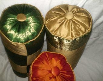 Silk Sari decorator neckrolls
