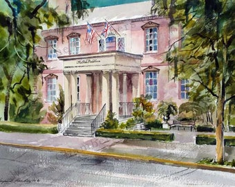 The Pink House - Watercolor Print