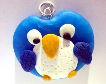 Owl Pendant/Charm/Necklace, Polymer Clay Bird Jewellery, Polymer Clay Owl Necklace, Owl Jewelry, Polymer Clay Blue Cute Owl Pendant