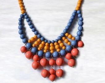 Olivia Necklace - Hot Popular / Summer Orange Blue Beadwork bubble necklace, bib statement necklace, bridal bridesmaid party necklace