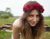 Deep Red Flower Crown, Romantic Flower Crown, Wedding Floral Crown, Flower Child, Festival Flower Crown, Rave Wear.
