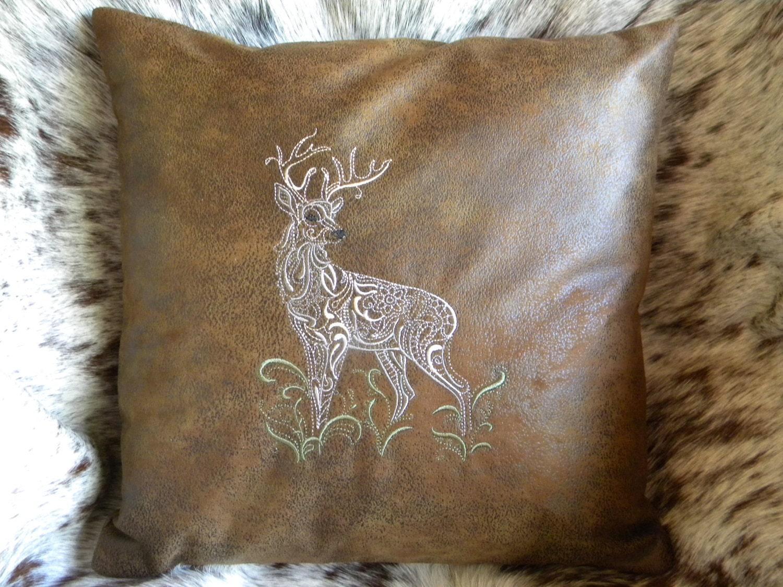 Deer Pillow Christmas Pillow Throw Pillow Embroidered