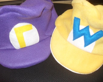 Wario and Waluigi Hats......Inspired characters of the Super Mario Bros world.