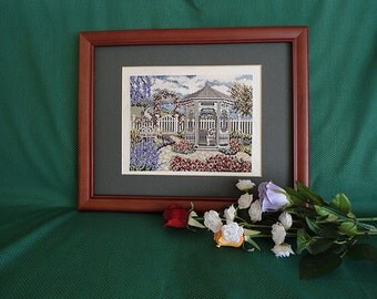 Cross Stitch Picture Seaside Gazebo by Debbie Patrick Victorian Handcrafted Handmade Framed Needlework Wall Decor