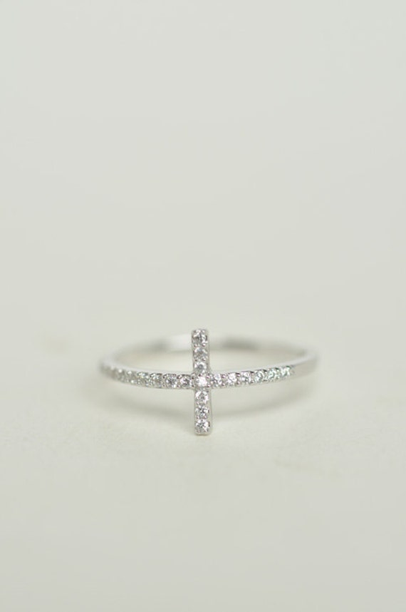 Sideways Cross Ring in sterling silver