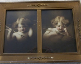 """Antique """"Cupid Awake and Asleep"""" Prints in Divided Frame - 1900's"""