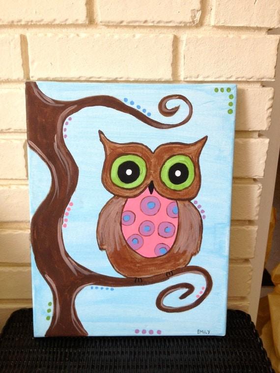 Items similar to Cute Custom Owl Painting on Etsy - photo#12